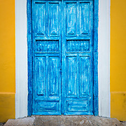 Detail of door on a Spanish colonial building in Merida, Mexico
