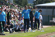 Forest Green Rovers manager, Mark Cooper and Dagenham's manager John Still shout out instructions to their teams during the Vanarama National League Play Off second leg match between Forest Green Rovers and Dagenham and Redbridge at the New Lawn, Forest Green, United Kingdom on 7 May 2017. Photo by Shane Healey.