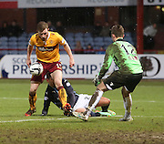Motherwell defender Mark O'Brien knocks the ball past keeper Dan Twardzik for Dundee's 4th goal -  Dundee v Motherwell, SPFL Premiership at Dens Park <br /> <br /> <br />  - &copy; David Young - www.davidyoungphoto.co.uk - email: davidyoungphoto@gmail.com