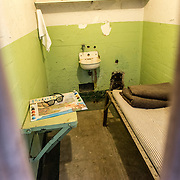 The interior of one of the cells of the famous prison of Alcatraz, on Alcatraz Island on San Francisco Bay.