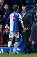 Photo. Glyn Thomas, Digitalsport.<br /> Blackburn Rovers v Leicester City. <br /> FA Barclaycard Premiership. 17/04/2004.<br /> Blackburn captain Garry Flitcroft (L) is congratulated by his manager Graeme Souness