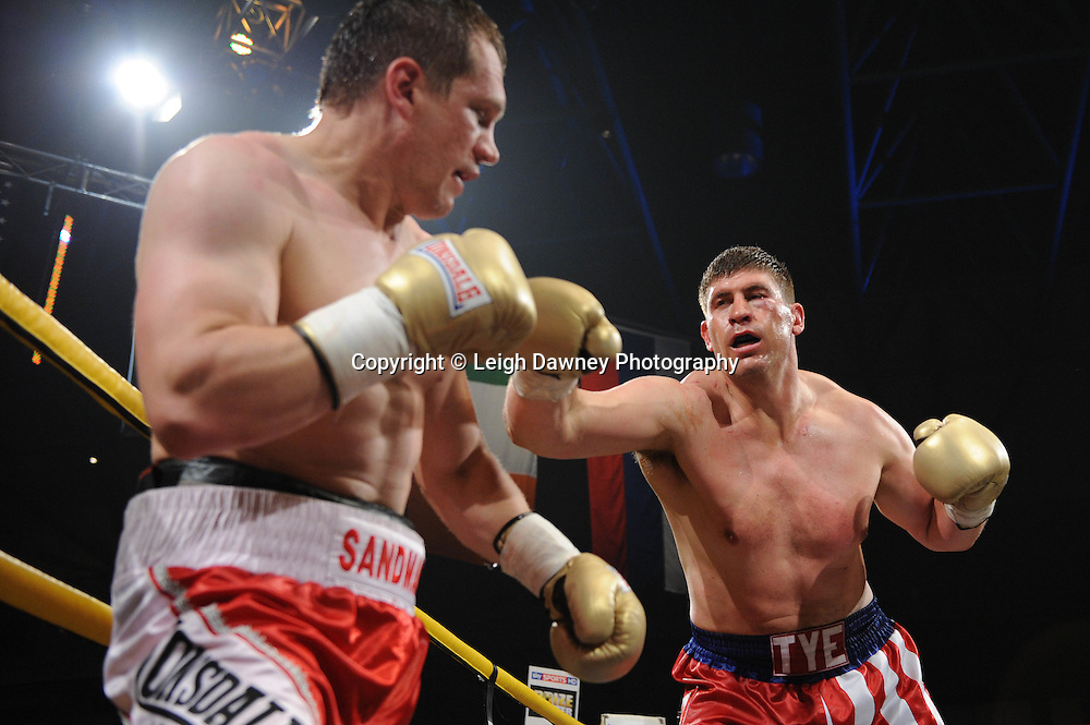 Tye Fields (USA/Canadian shorts) defeats Konstantin Airich in Semi Final 2 at Prizefighter International on Saturday 7th May 2011. Prizefighter / Matchroom. Photo credit © Leigh Dawney. Alexandra Palace, London.