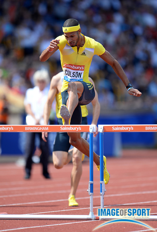Jun 30, 2013; Birmingham, UNITED KINGDOM; Javier Culson (PUR) wins the 400m hurdles in 48.59 in the 2013 Sainsbury's Grand Prix at Alexander Stadium. Photo by Jiro Michozuki