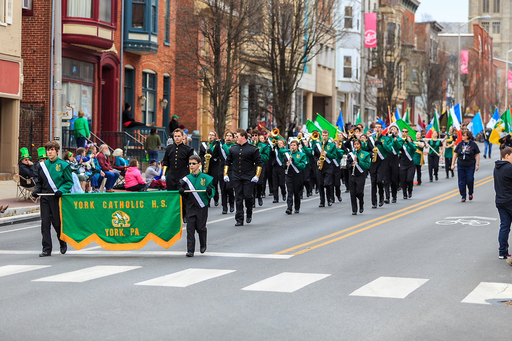 York, PA / USA - March 12, 2016: The York Catholic High School Band marches in the annual Saint Patrick's Day Parade.