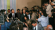 Oliver North speaks to press after his sentencing on July 6 1989<br /> <br /> by Dennis Brack