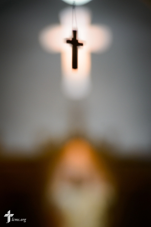 A small cross hangs from the ceiling at Zion Evangelical Lutheran Church, Lu Verne, Iowa, on Sunday, July 9, 2017. LCMS Communications/Erik M. Lunsford