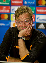 SINSHEIM, GERMANY - Tuesday, August 15, 2017: Liverpool's manager Jürgen Klopp speaks to the media during a post-match press conference after beating TSG 1899 Hoffenheim 2-1 during the UEFA Champions League Play-Off 1st Leg match between TSG 1899 Hoffenheim and Liverpool at the Rhein-Neckar-Arena. (Pic by David Rawcliffe/Propaganda)