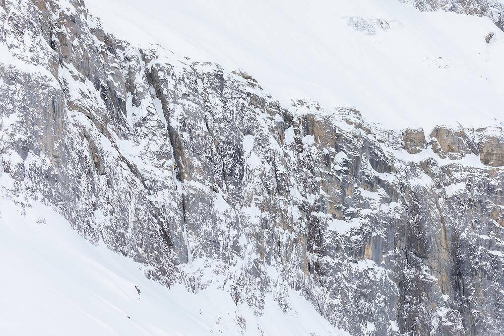 Michelle Kadatz leading a mixed climbing in Storm Creek, Kootenay National Park, BC