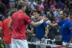 September 22, 2018 - Chicago, Illinois, U.S - Team World member KEVIN ANDERSON of South Africa and partner JACK SOCK of the United States shake hands after defeating Team Europe members ROGER FEDERER of Switzerland and partner GRIGOR DIMITROV of Bulgaria after the first doubles match on Day One of the Laver Cup at the United Center in Chicago, Illinois. (Credit Image: © Shelley Lipton/ZUMA Wire)