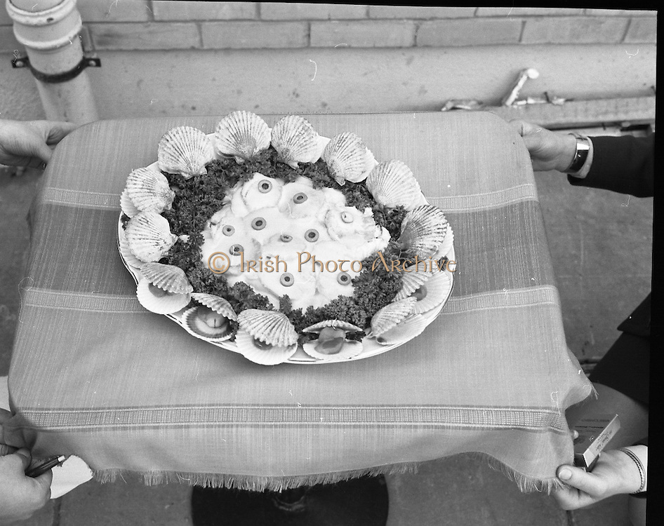 "B.I.M.National Seafood Cook..1972..05.05.1972..05.05.1972..5th May 1972..The final of the ""National Seafood Cook 1972"" was held in the Great Southern Hotel,Killarney,Co Kerry.The winner was Miss Mary Coleman (14 years)from the Vocational School, Claremorris,Co Mayo.The title of the winning dish was ""Amber Ring. She was chosen from 18 regional finalists...Image of ""Catch Of The Season"",the third placed dish. This dish was the creation of Maria Geoghegan."