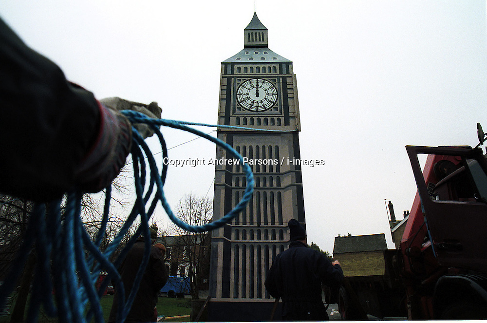 THE VILLAGE OF SWAVESEY IS ON THE MERIDIAN LINE , THEY ARE CELEBRATING THE NEW YEAR BY  HAVING A STREET PARTY IN  MARKET STEET . A GROUP OF VILLAGERS HAVE BUILT THEIR OWN BIG BEN, December 31, 1999. Photo by Andrew Parsons / i-images..