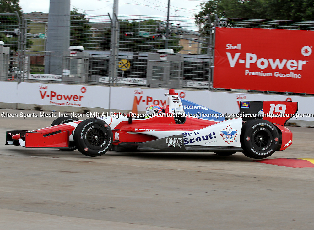 June 27, 2014: Justin Wilson during practice for the IndyCar Series Grand Prix of Houston at MD Anderson Cancer Center Speedway in Houston, TX.