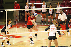 01 September 2012:  Jenny Menendez greets an incoming ball during an NCAA womens volleyball match between the Oregon State Beavers and the Illinois State Redbirds at Redbird Arena in Normal IL