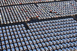 Stock photo of an aerial view of an automobile manufacturer's storage lot