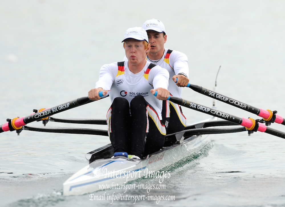 Munich, GERMANY,   GER M2X. Bow Eric KNITTEL and Stephan KRUGER. Time Trial. Men's Double Sculls. 2011 FISA World Cup. 1st Rd. Munich Olympic Rowing Course, Friday  27/05/2011. [Mandatory Credit Peter Spurrier/ Intersport Images]