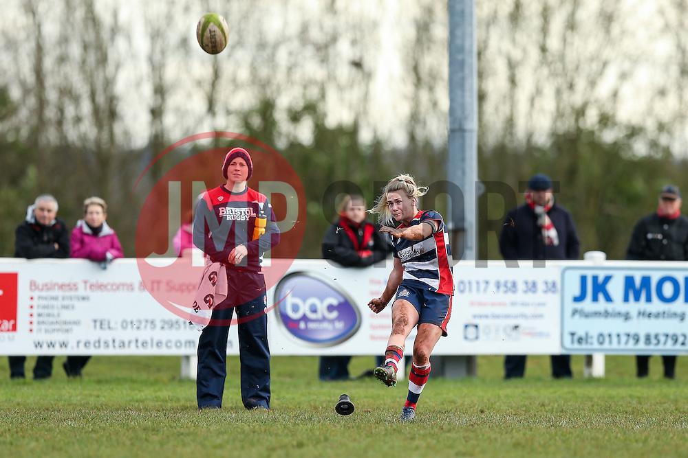 Megan Jones of Bristol Ladies kicks a conversion - Rogan Thomson/JMP - 15/01/2017 - RUGBY UNION - Cleve RFC - Bristol, England - Bristol Ladies Rugby v Richmond WRFC - RFU Women's Premiership.