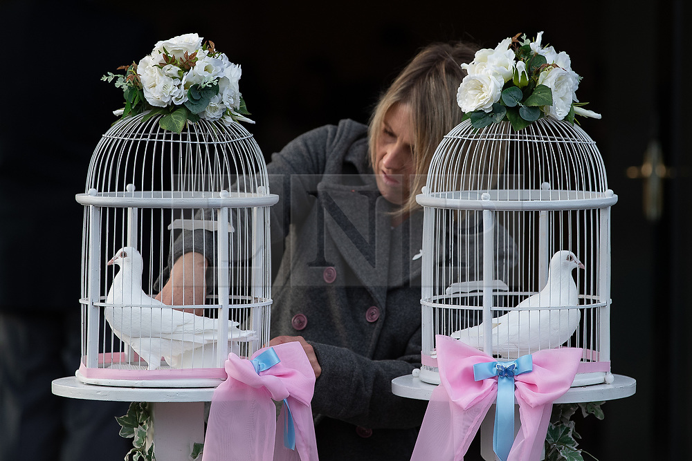 © Licensed to London News Pictures . 30/10/2018. Accrington , UK . Two white doves are positioned outside the crematorium after the service . The funeral of Gemma Nuttall at Accrington Crematorium . Gemma died of cancer despite initially seeing off the disease after radical immunotherapy treatment in Germany , paid for with the fundraising support of actress Kate Winslet , who read of Gemma's plight on a crowdfunding website shortly after she lost her own mother to cancer . Permission to photograph given by Gemma's mother , Helen Sproates . Photo credit : Joel Goodman/LNP