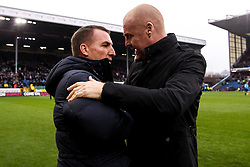 Burnley manager Sean Dyche and Leicester City manager Brendan Rogers shake hands - Mandatory by-line: Robbie Stephenson/JMP - 19/01/2020 - FOOTBALL - Turf Moor - Burnley, England - Burnley v Leicester City - Premier League