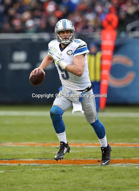 Detroit Lions quarterback Matthew Stafford (9) scrambles to his right while looking to pass in the second quarter during the NFL week 17 regular season football game against the Chicago Bears on Sunday, Jan. 3, 2016 in Chicago. The Lions won the game 24-20. (©Paul Anthony Spinelli)