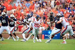 Mississippi Rebels quarterback Shea Patterson (20) rolls out during an NCAA football game aAuburn Tigers, Saturday, October 7, 2017, in Auburn, AL. Auburn won 44-23. (Paul Abell via Abell Images for Chick-fil-A Peach Bowl)