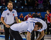 "Glasgow. SCOTLAND.  Italian ""Skip Joel RETORNAZ  supervises his team's sweeping, during the, ""Round Robin"" Game.  Scotland vs Italy at the Le Gruyère European Curling Championships. 2016 Venue, Braehead  Scotland<br /> Wednesday  23/11/2016<br /> <br /> [Mandatory Credit; Peter Spurrier/Intersport-images]"