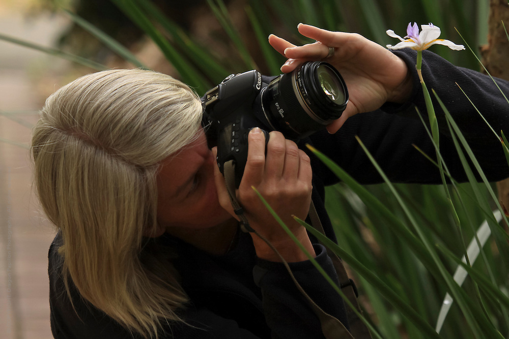 female photographer with macro lens taking photo of flowers in nature