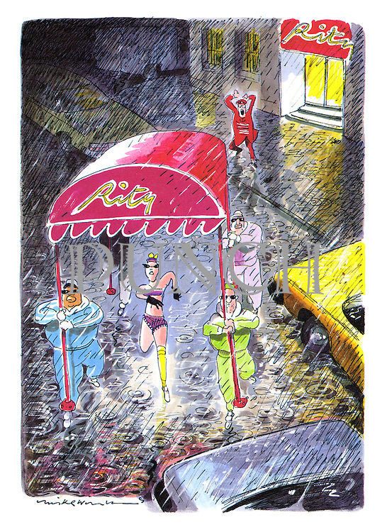 (A rock star and her minders jog away from the Ritz in the rain using the hotel's awning as an umbrella)