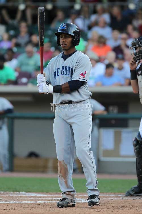 Lake County Captains shortstop Francisco Lindor #12 bats during a game against the Dayton Dragons at Fifth Third Field on June 25, 2012 in Dayton, Ohio. Lake County defeated Dayton 8-3. (Brace Hemmelgarn)