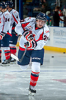 KELOWNA, CANADA - OCTOBER 16: Remi Laurencelle #20 of the Lethbridge Hurricanes warms up against the Kelowna Rockets on October 16, 2013 at Prospera Place in Kelowna, British Columbia, Canada.   (Photo by Marissa Baecker/Shoot the Breeze)  ***  Local Caption  ***