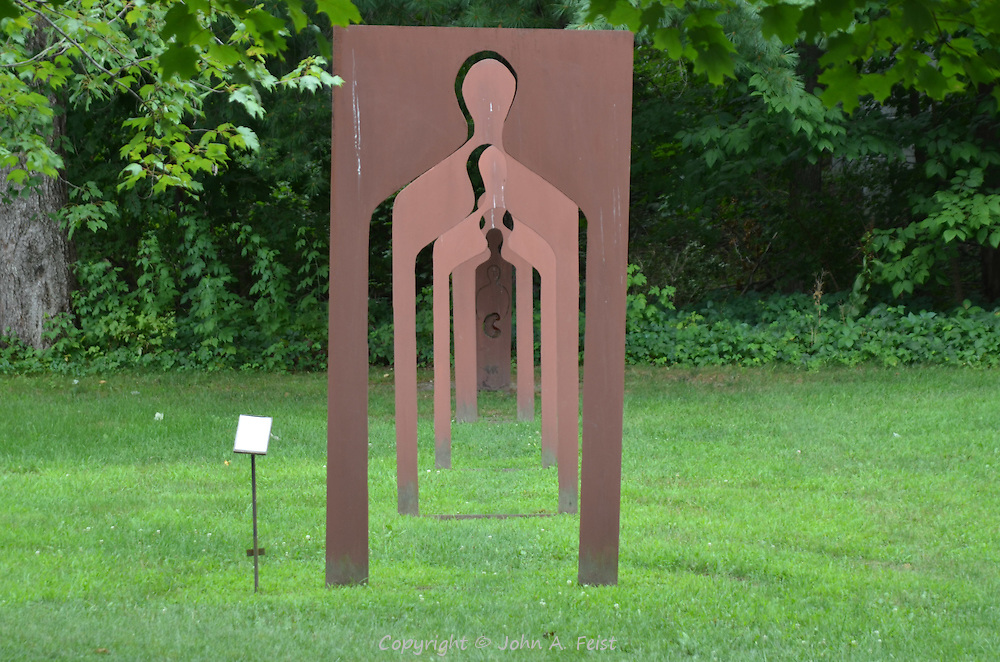 A sculpture at the Omega Institute in Rhinebeck, NY.  A progression of shrinking forms lead to the final one at the end.