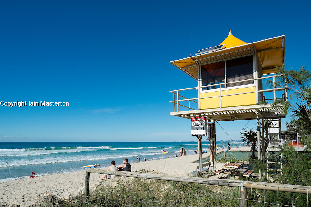 Lifeguard hut on beach at Surfers Paradise seaside town on the Gold Coast in Queensland Australia