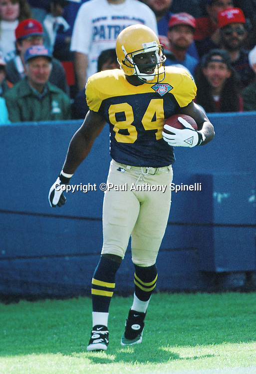 Green Bay Packers wide receiver Sterling Sharpe (84) looks on after scoring an apparent touchdown during the NFL football game against the New England Patriots on Oct. 2, 1994 in Foxborough, Mass. The Patriots won the game 17-16. (©Paul Anthony Spinelli)