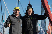 Charlie Capelle (Classe Rhum Multi ACAPELLA - SOREAL - PROLUDIC) and Mike Birch (winner of the 1st édition Route du Rhum in 1978) during the Route du Rhum 2018, on November 2nd, in Saint Malo, France, before the Route du Rhum sailing race to start on November 4th 2018 - Photo Olivier Blanchet / ProSportsImages / DPPI