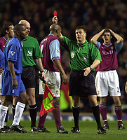 Photo. Richard Lane. <br />Aston Villa v Birmingham City. Barclaycard Premiership. 03/03/2003<br />Ref. Mark Halsey sends off Dion Dublin after headbutting Robbie Savage.