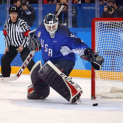 February 22, 2018 - Gangneung, South Korea - USA goalkeeper MADDIE ROONEY makes the final shootout save in the Ice Hockey: Women's Gold Medal Game against Canada at Gangneung Hockey Centre during the 2018 Pyeongchang Winter Olympic Games.  (Credit Image: © Jon Gaede via ZUMA Wire)