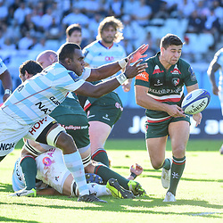 (R-L)  Ben Youngs of Leicester and Leone Nakarawa of Racing 92 during the European Rugby Champions Cup match between Racing 92 and Leicester Tigers on October 14, 2017 in Colombes, France. (Photo by Dave Winter/Icon Sport)