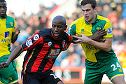 AFC Bournemouth forward Benik Afobe and Norwich City defender Ryan Bennett during the Barclays Premier League match between Bournemouth and Norwich City at the Goldsands Stadium, Bournemouth, England on 16 January 2016. Photo by Graham Hunt.
