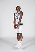 September 28, 2016: Ja'Quan Newton #0 poses during  Miami Hurricanes Men's Basketball Photo Day in Coral Gables, Florida.