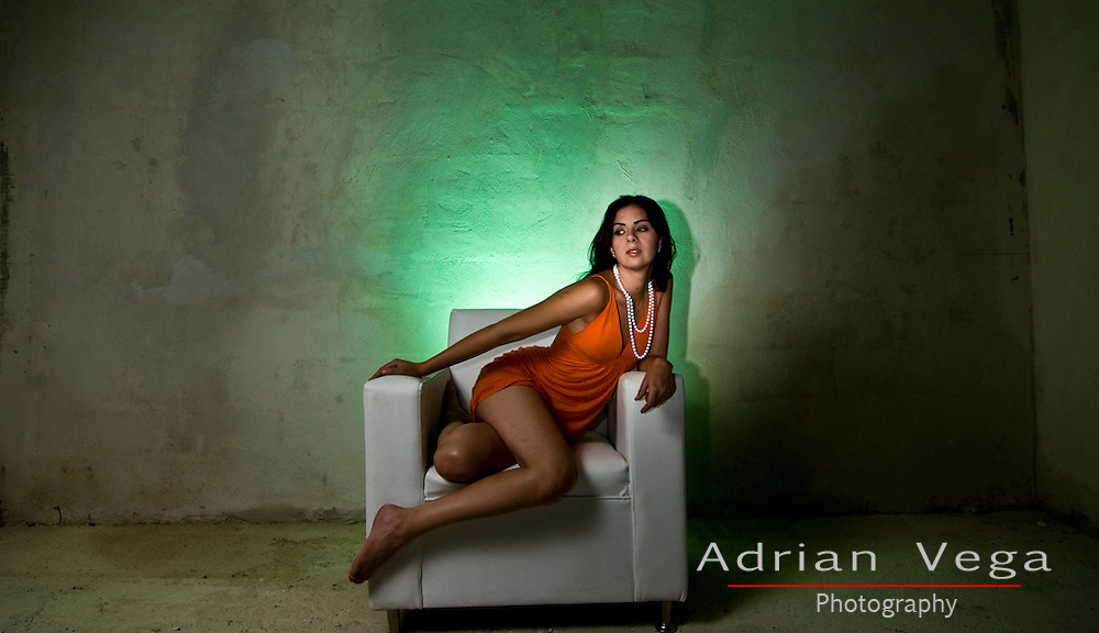 Brunette model in a dramatic and minimalistic warehouse shoot. Sexy yet classy and revealing