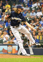 May 8, 2018 - Milwaukee, WI, U.S. - MILWAUKEE, WI - MAY 08: Milwaukee Brewers Pitcher Josh Hader (71) delivers a pitch during a MLB game between the Milwaukee Brewers and Cleveland Indians on May 8, 2018 at Miller Park in Milwaukee, WI. The Brewers defeated the Indians 3-2.(Photo by Nick Wosika/Icon Sportswire) (Credit Image: © Nick Wosika/Icon SMI via ZUMA Press)