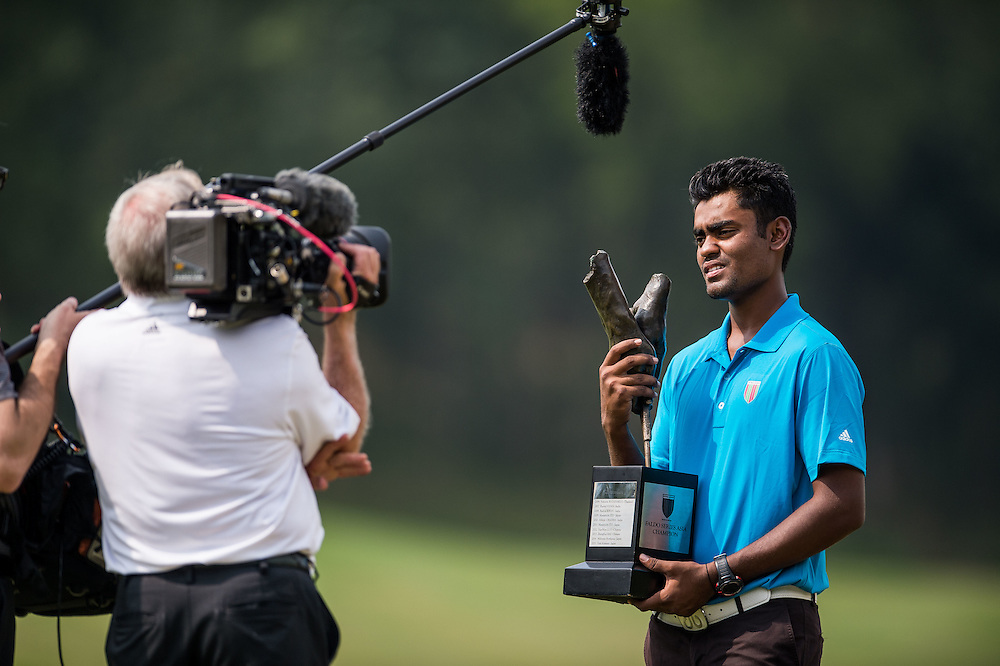 Arjun Prasad of India in action during day three of the 10th Faldo Series Asia Grand Final at Faldo course on 04 March of 2016 in Shenzhen, China. Photo by Xaume Olleros.