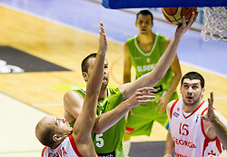 Beka Tsivtsivadze of Georgia vs Uros Slokar of Slovenia during friendly basketball match between National teams of Slovenia and Georgia in day 2 of Adecco Cup 2014, on July 25, 2014 in Dvorana OS 1, Murska Sobota, Slovenia. Photo by Vid Ponikvar / Sportida.com