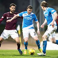 St Johnstone v Hearts…05.04.17     SPFL    McDiarmid Park<br />Tam Scobbie lays the ball off to Balir Alston whose shot is blocked<br />Picture by Graeme Hart.<br />Copyright Perthshire Picture Agency<br />Tel: 01738 623350  Mobile: 07990 594431