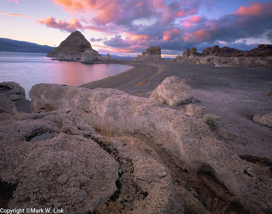 Low water reveals unique formations at Pyramid Lake on the Piute Indian Reservation, Nevada.