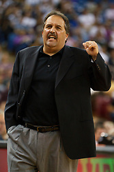 March 9, 2011; Sacramento, CA, USA;  Orlando Magic head coach Stan Van Gundy on the sidelines against the Sacramento Kings during the first quarter at the Power Balance Pavilion.