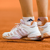 03 June 2007: Details of Swiss player Patty Schnyder sneakers during the French Tennis Open fourth round match, won 3-6, 6-4, 9-7 by Maria Sharapova against Patty Schnyder, on day 8 at Roland Garros, in Paris, France.