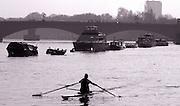 Photo. © Peter Spurrier/ Images.01/03/2004  -  Varsity Boat Race Challenge..Elise Laverick, sculling up to Putney Hard .[Mandatory Credit Peter Spurrier/ Intersport Images] Varsity: Boat race Sunrise, Sunsets, Silhouettes
