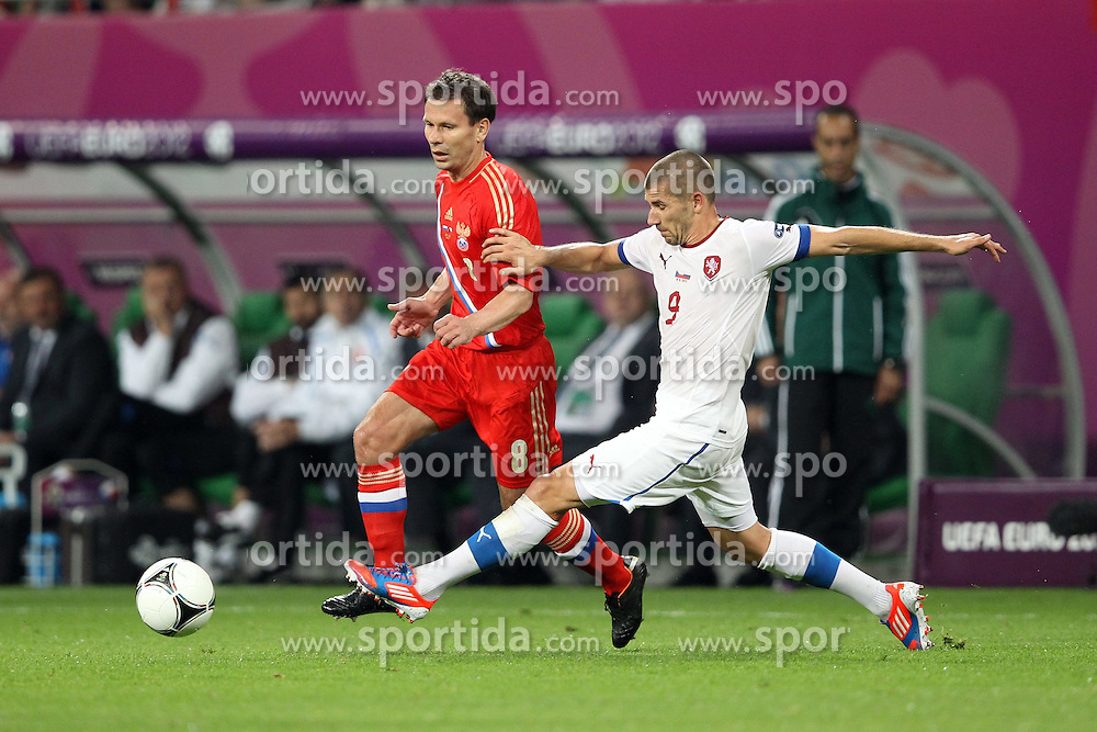 08.06.2012, Staedtisches Stadion, Breslau, POL, UEFA EURO 2012, Russland vs Tschechien, Gruppe A, im Bild 8- KONSTANTIN ZYRYANOV ZYRJANOW (RUS) 9- JAN REZEK (CZE) // during the UEFA Euro 2012 Group A Match between Russia and Czech Republic at the Municipal Stadium, Wroclaw, Poland on 2012/06/08. EXPA Pictures © 2012, PhotoCredit: EXPA/ Newspix/ Jakub Piasecki..***** Jakub Piasecki..***** ATTENTION - for AUT, SLO, CRO, SRB, SUI and SWE only *****