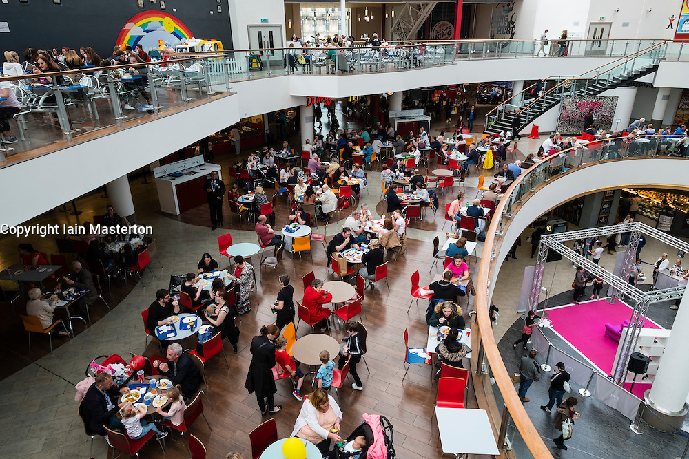 Food court inside St Enoch Centre shopping mall in Glasgow, Scotland,United Kingdom