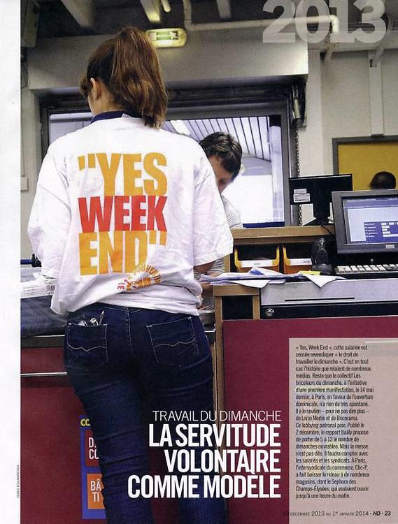 Travailler le dimanche dans l'hebdomadaire l'Humanité Dimanche.